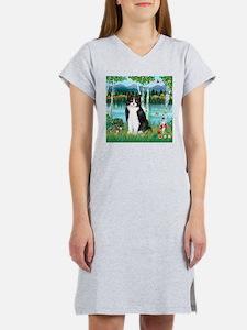 Birches / (B&W) Cat Women's Nightshirt