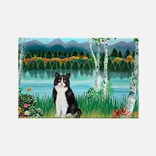 Birches / (B&W) Cat Rectangle Magnet