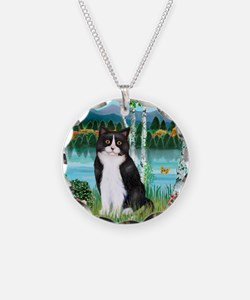 Birches / (B&W) Cat Necklace