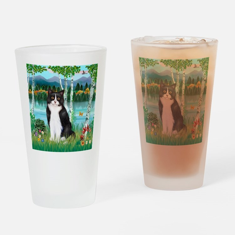 Birches / (B&W) Cat Drinking Glass
