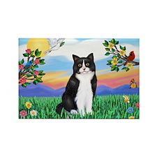 Bright Life / (B&W) Cat Rectangle Magnet