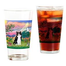 Angel (B&W) Cat Drinking Glass