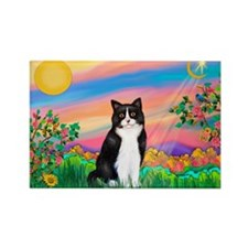 Day Star / (B&W) Cat Rectangle Magnet