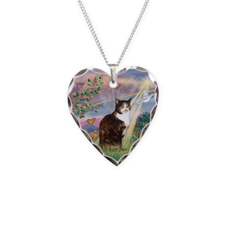 Cloud Angel / Calico Cat Necklace Heart Charm