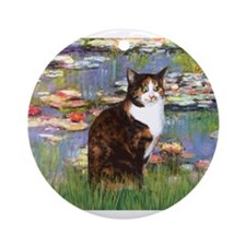 Lilies & Calico Cat Ornament (Round)