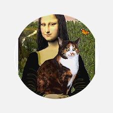 """Mona's Calico Cat 3.5"""" Button"""