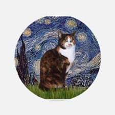 "Starry Night & Calico Cat (#1 3.5"" Button"