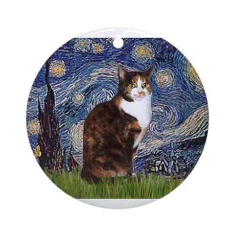 starry night amp calico cat 1 ornament round by
