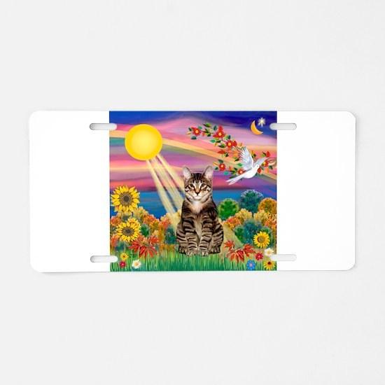 Autumn Sun / Tab Tiger Cat Aluminum License Plate
