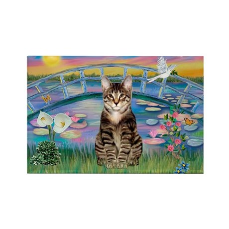 Lilies / Tab Tiger Cat Rectangle Magnet