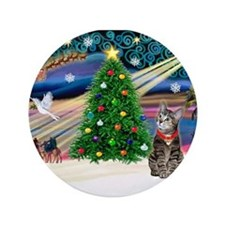 "Xmas Magic & Tiger Cat 3.5"" Button"