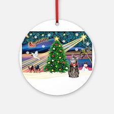 Xmas Magic & Tiger Cat Ornament (Round)