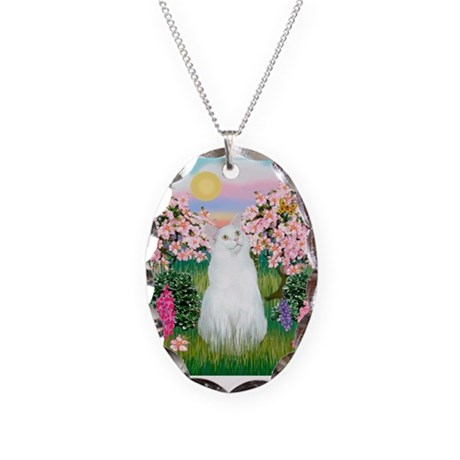 Blossoms / (White) Cat Necklace Oval Charm