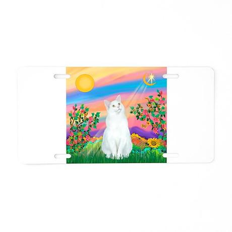 Day Star / (White) Cat Aluminum License Plate