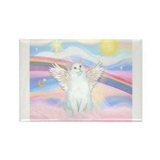 Clouds / (White) Cat Rectangle Magnet