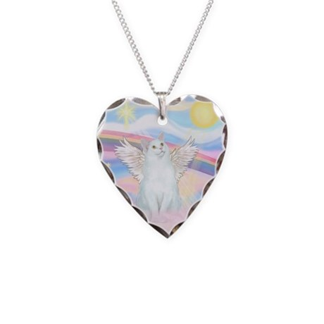 Clouds / (White) Cat Necklace Heart Charm