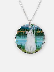 Birches / (White) Cat Necklace
