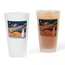 Xmas Star / White Cat Drinking Glass