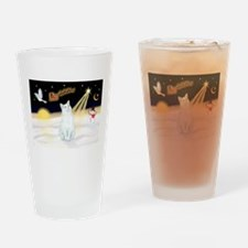 Cute American short haired white cat Drinking Glass
