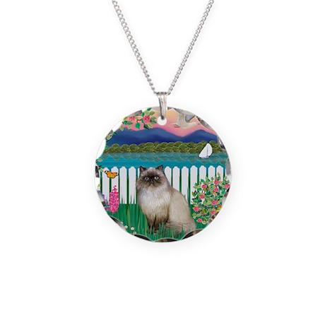 Garden Shore / Himalayan Cat Necklace Circle Charm