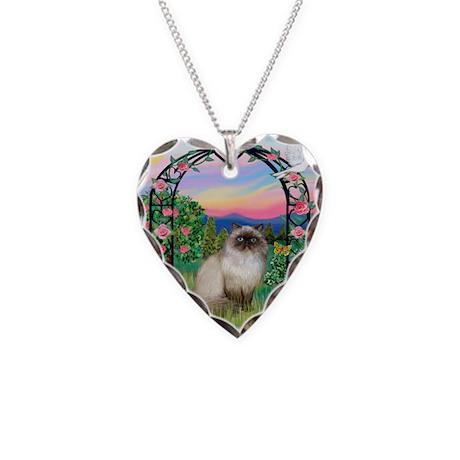 Rose Arbor / Himalayan Cat Necklace Heart Charm