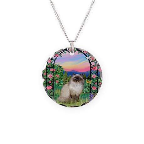 Rose Arbor / Himalayan Cat Necklace Circle Charm