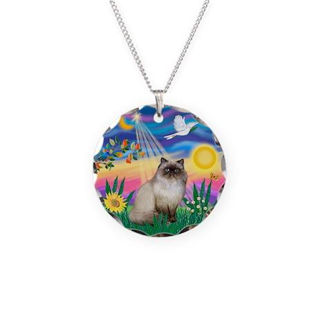 Twilight / Himalayan Cat Necklace Circle Charm