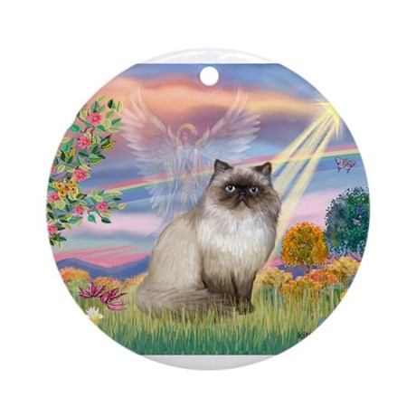 Cloud Angel & Himalayan (#1) Ornament (Round)