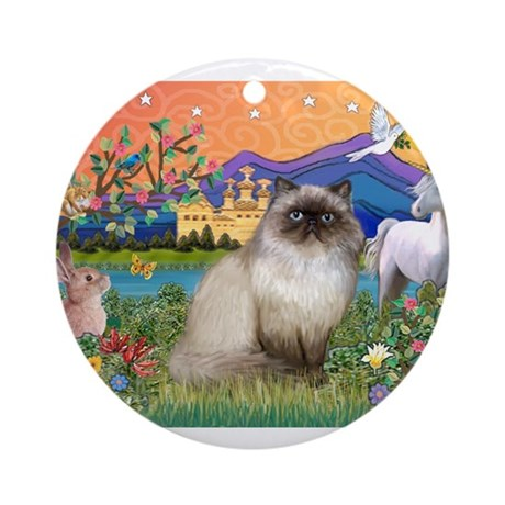 Himalayan Cat Ornament (Round)
