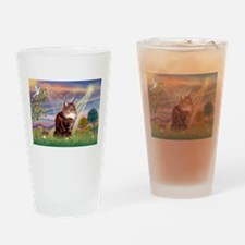 Cloud Angel & Maine Coon Drinking Glass