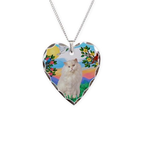 Bright Life / White Persian Necklace Heart Charm