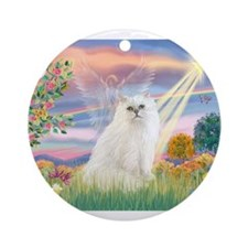 Cloud Angel White Persian Ornament (Round)