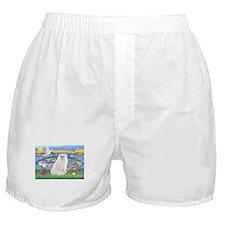 Lilies & White Persian Boxer Shorts