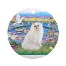 Lilies & White Persian Ornament (Round)