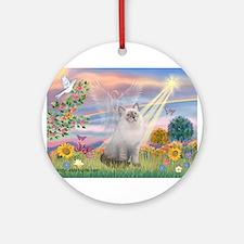 Cloud Angel & Ragdoll Ornament (Round)