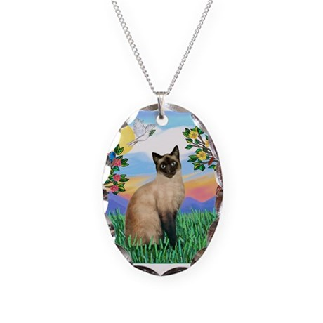 Bright Life / Siamese Necklace Oval Charm