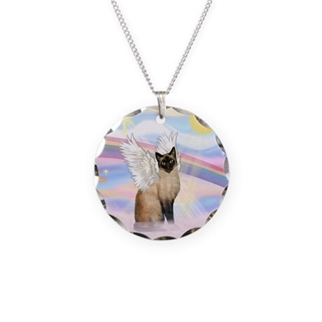 Clouds / Siamese Necklace Circle Charm