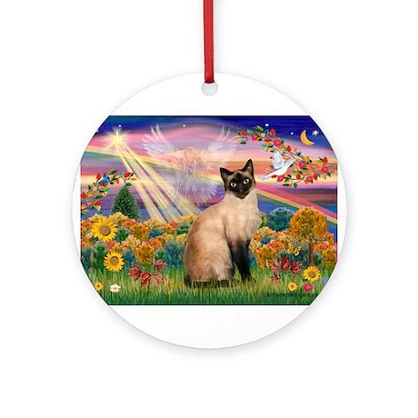 Autumn Angel & Siamese Ornament (Round)