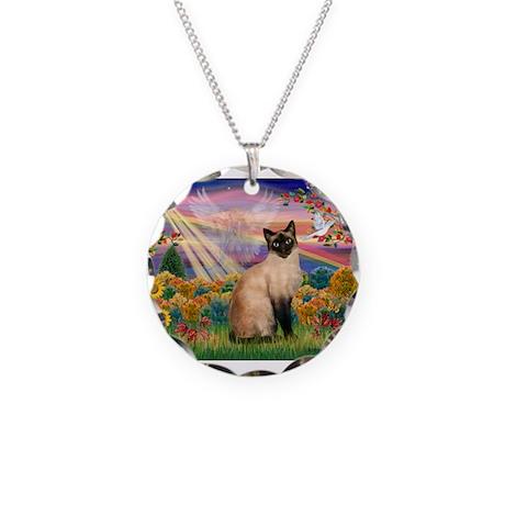 Autumn Angel & Siamese Necklace Circle Charm