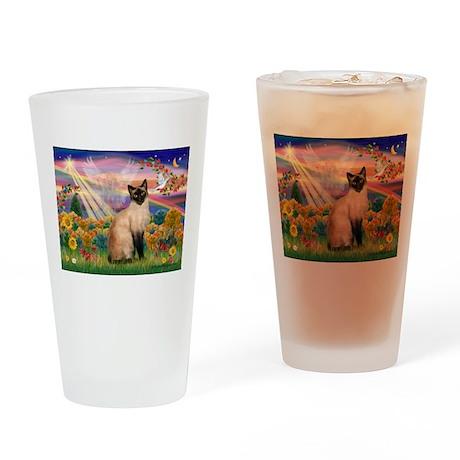 Autumn Angel & Siamese Drinking Glass