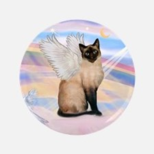 "Siamese Cat Angel 3.5"" Button"