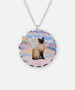 Siamese Cat Angel Necklace