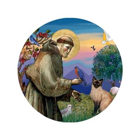 "St Francis / Siamese 3.5"" Button"