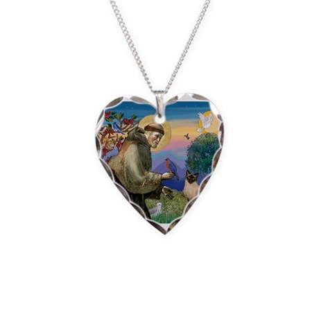 St Francis / Siamese Necklace Heart Charm
