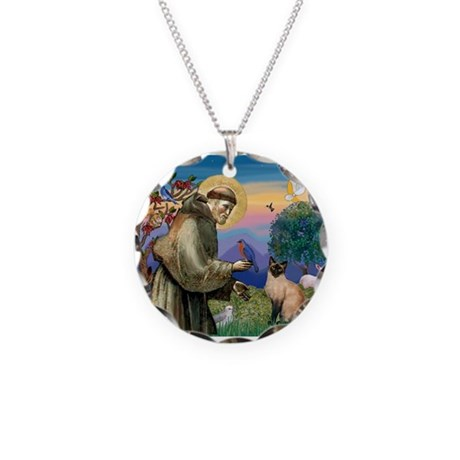 St Francis / Siamese Necklace Circle Charm
