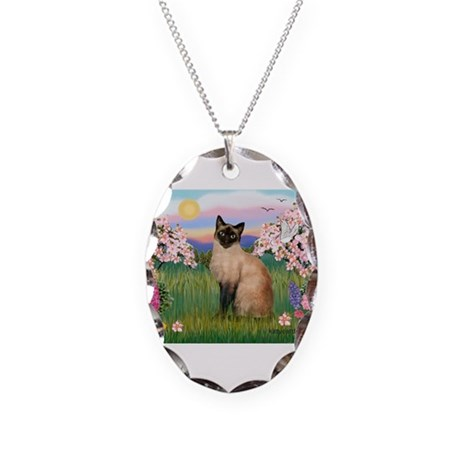 Siamese Spring Blossom Necklace Oval Charm