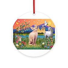 Fantasy Land Sphynx Cat Ornament (Round)