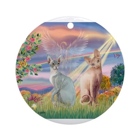 Cloud Angel / Sphynx cat Ornament (Round)