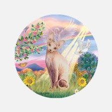 "Cloud Angel & Sphnx cat 3.5"" Button"