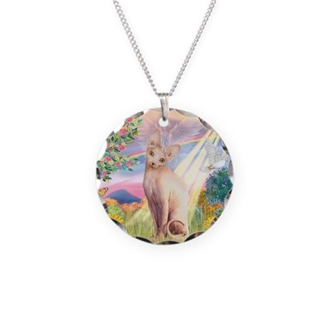 Cloud Angel & Sphnx cat Necklace Circle Charm